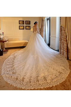 3/4 Length Sleeves V-Neck Lace Wedding Dresses Bridal Gowns 3030109