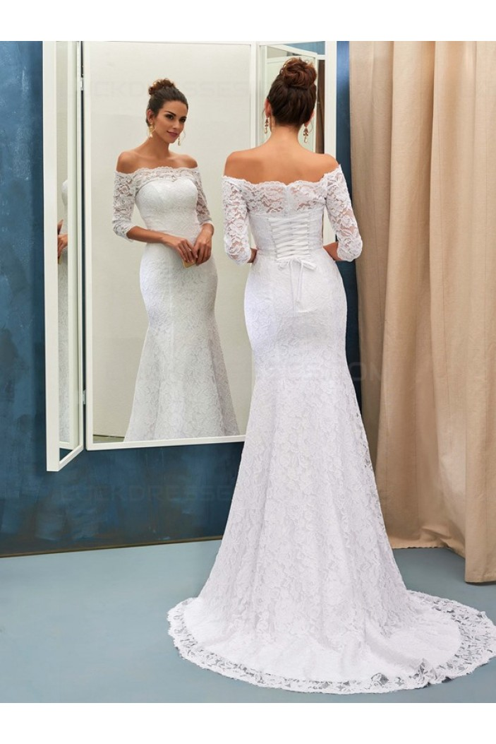 Mermaid 3/4 Length Sleeves Off-the-Shoulder Lace Wedding ...
