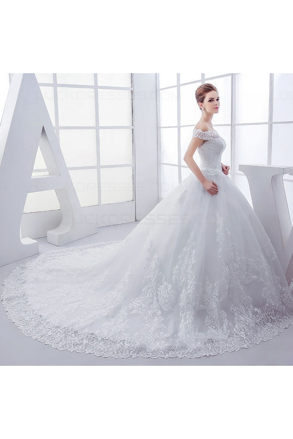 Lace Ball Gown Off The Shoulder Wedding Dresses Bridal