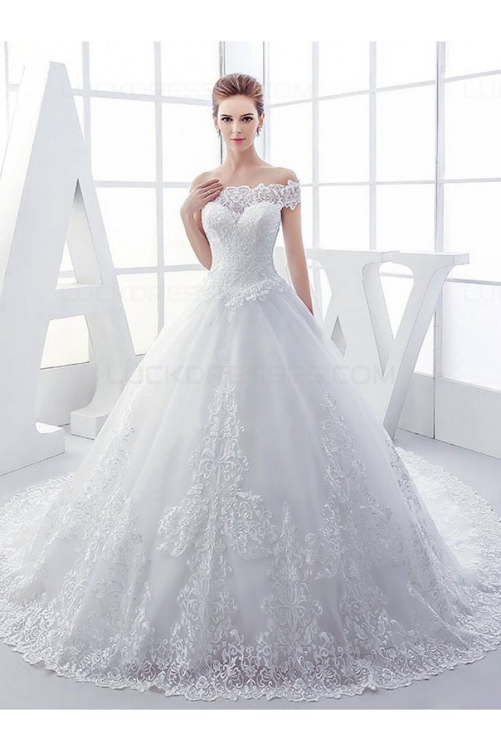 Lace Ball Gown Off-the-Shoulder Wedding Dresses Bridal Gowns 3030115