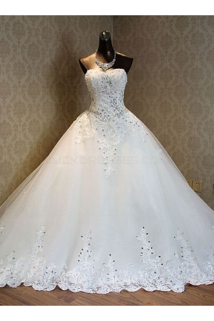 Sparkly Lace Bridal Ball Gown Crystal Wedding Dresses