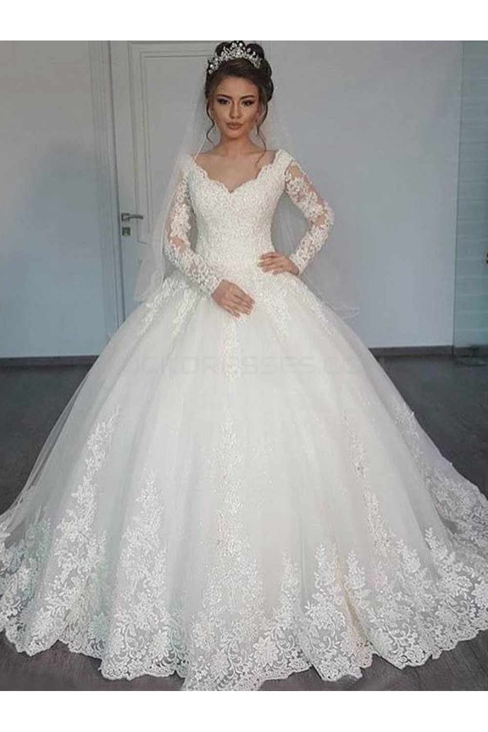 Bridal Ball Gown V Neck Lace Long Sleeves Wedding Dresses Gowns 3030126