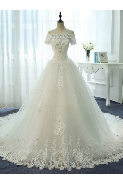 Short Sleeves Off-the-Shoulder Lace Sparkly Wedding Dresses Bridal Gowns 3030130