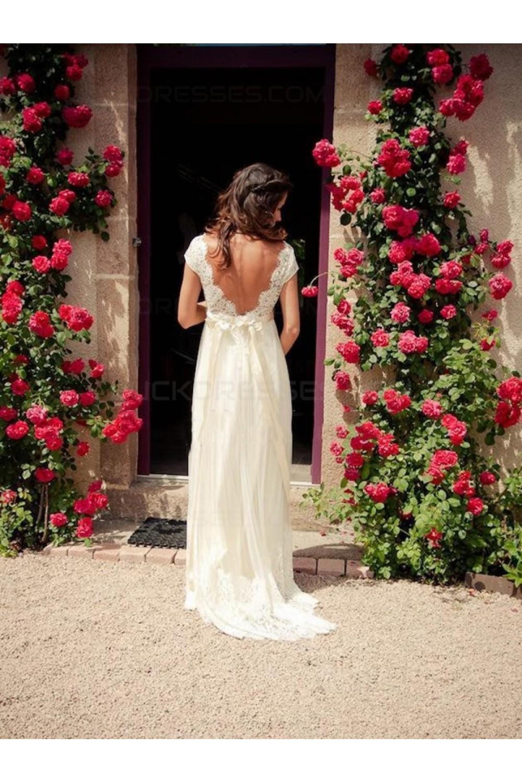 Empire lace v neck backless wedding dresses bridal gowns for Lace v neck backless wedding dress