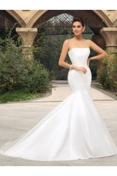 Simple Mermaid Strapless Wedding Dresses Bridal Gowns 3030139