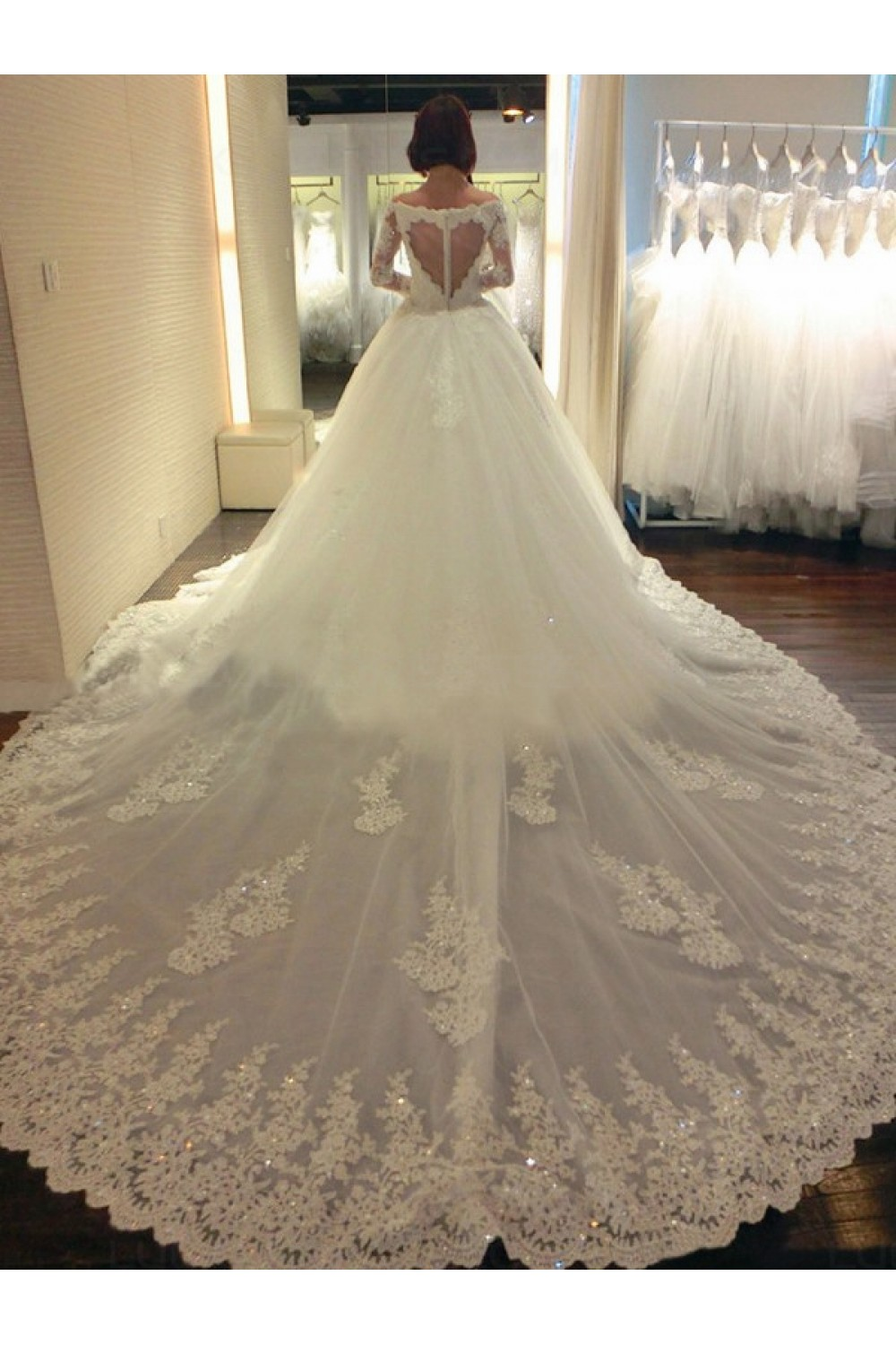 Long Sleeves Ball Gown Chapel Train Lace Wedding Dresses Bridal ...