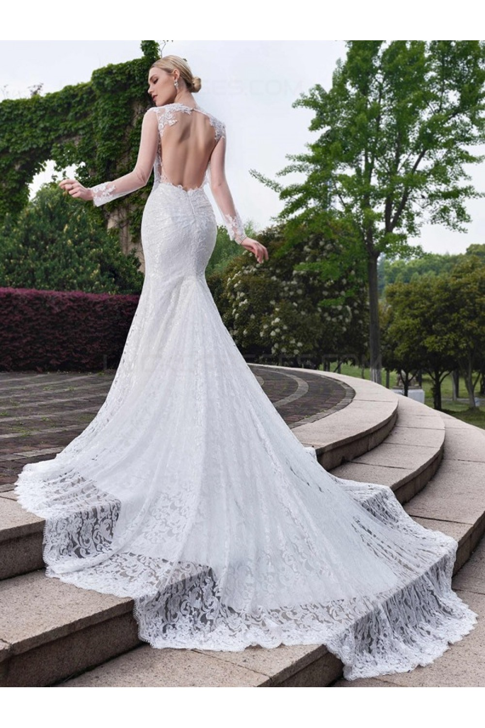 long sleeves lace open back mermaid wedding dresses bridal