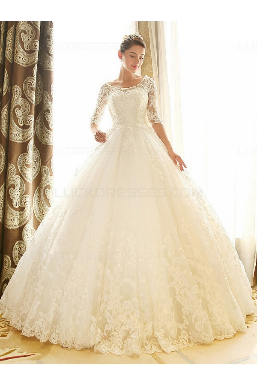 Lace Bridal Ball Gown 3 4 Length Sleeves Wedding Dresses