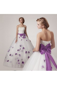 Ball Gown Strapless Purple White Wedding Dresses Bridal Gowns 3030192
