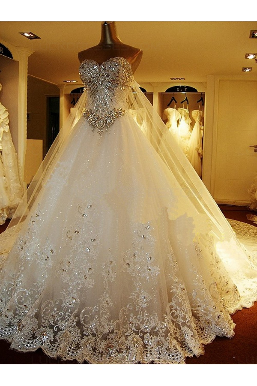 Sparkly Lace Ball Gown Crystal Wedding Dresses Bridal Gowns 3030194
