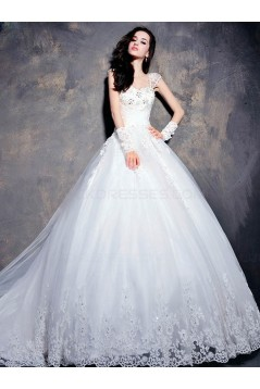 Ball Gown Cap Sleeves Lace Wedding Dresses Bridal Gowns 3030196