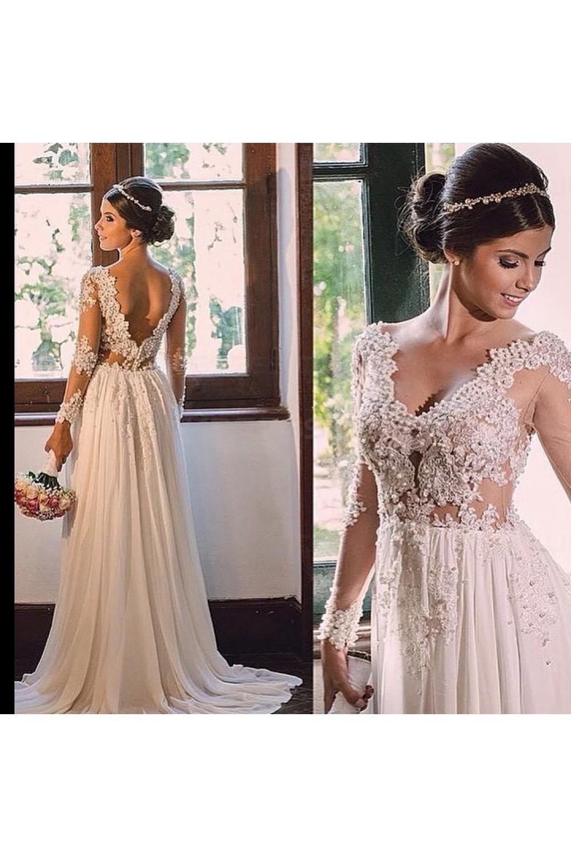 893077b6abf7 Sexy Long Sleeves V-Neck Lace Chiffon Wedding Dresses Bridal ...