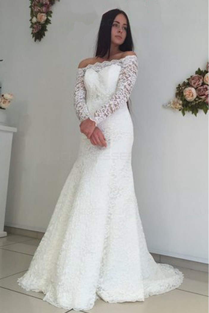Long Sleeves Lace Off-the-Shoulder Mermaid Wedding Dresses Bridal Gowns 3030212