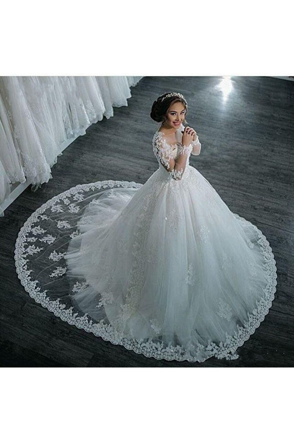 Long Sleeves Illusion Neckline Lace Wedding Dresses Bridal Gowns 3030214