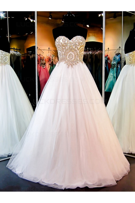 A Line Sweetheart Gold Lace Appliques Wedding Dresses Bridal
