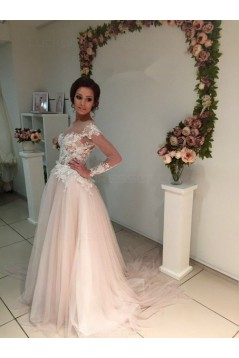 Long Sleeves Lace Sheer Wedding Dresses Bridal Gowns 3030223