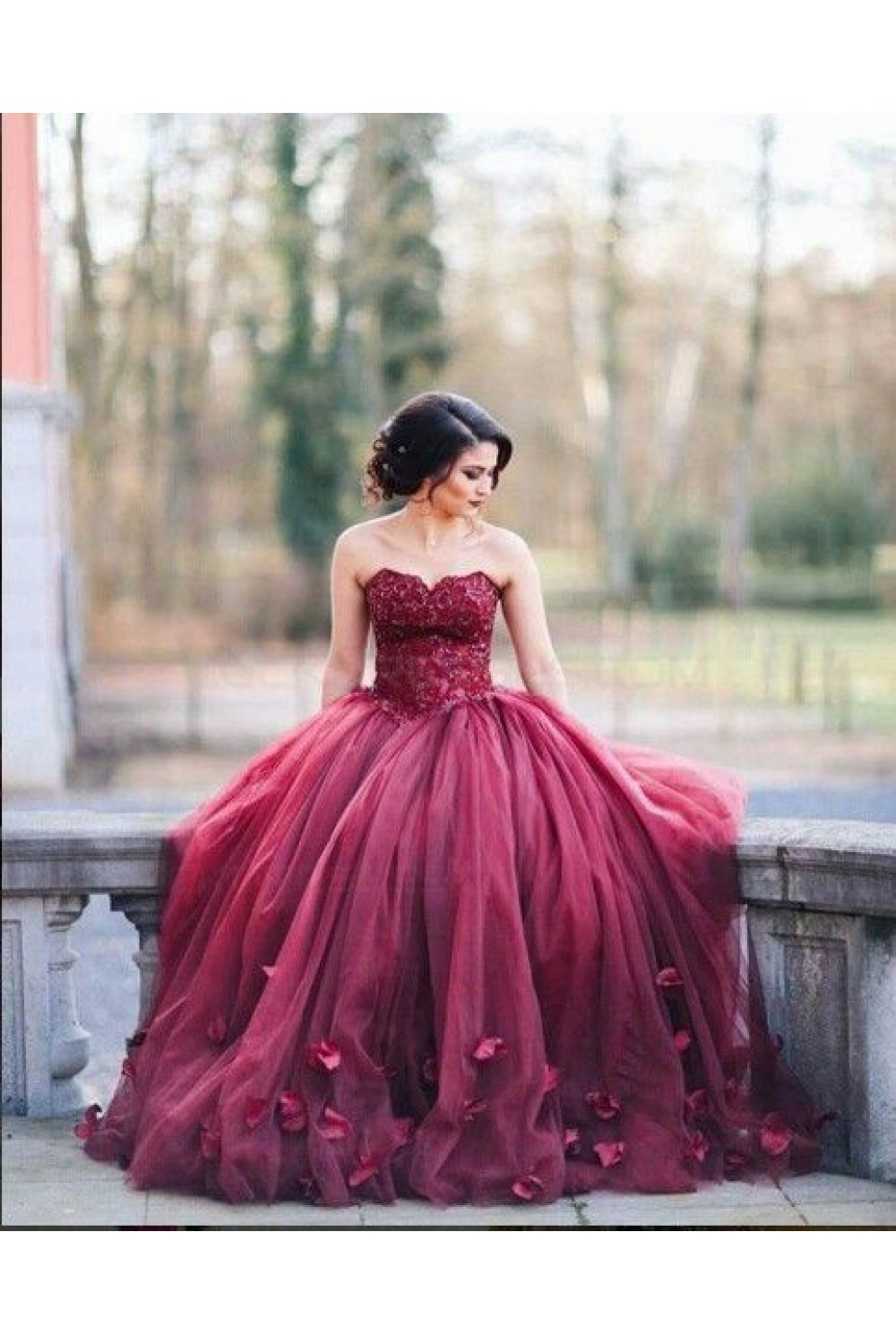 Lace Sweetheart Burgundy Wedding Dresses Bridal Gowns 3030227