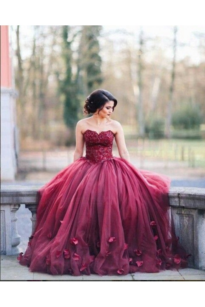 Lace sweetheart burgundy wedding dresses bridal gowns 3030227 for Maroon dresses for wedding