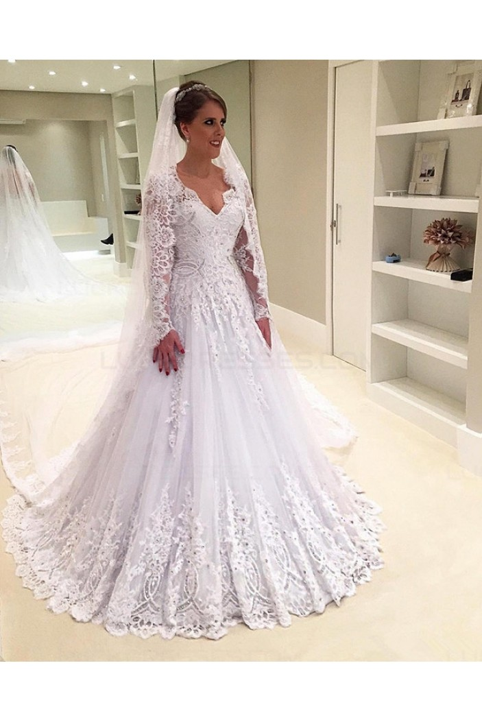 A-Line Long Sleeves Lace Wedding Dresses Bridal Gowns 3030242
