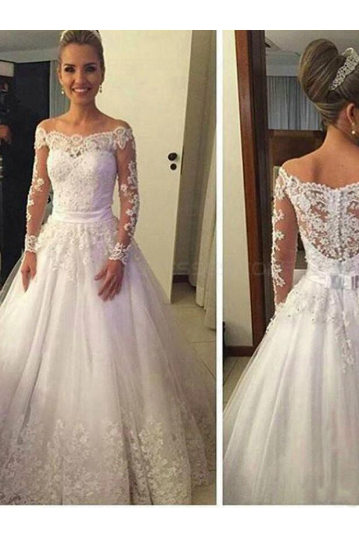 A-Line Long Sleeves Off-the-Shoulder Lace Wedding Dresses Bridal ...