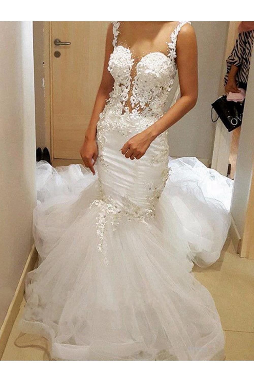 Lace Mermaid Sheer Wedding Dresses Bridal Gowns 3030254