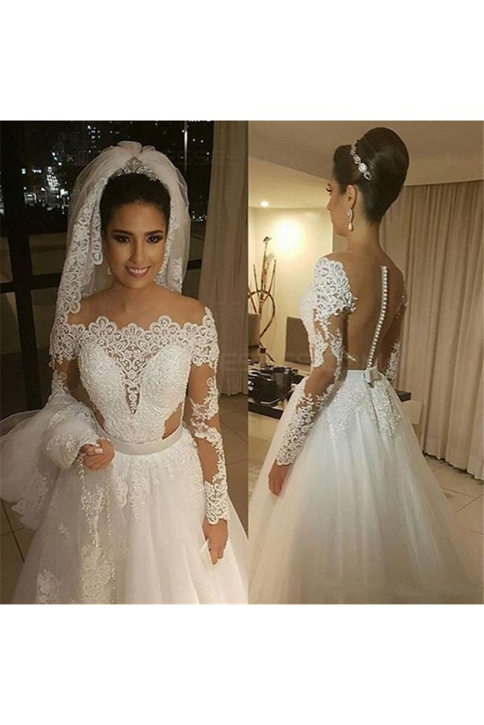 A-Line Long Sleeves Lace Wedding Dresses Bridal Gowns 3030261