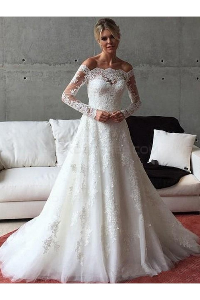 A Line Long Sleeves Lace Off The Shoulder Wedding Dresses
