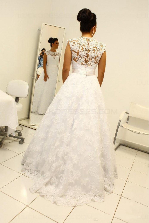 A-Line Jewel Neckline Lace Sleeveless Wedding Dresses Bridal Gowns ...