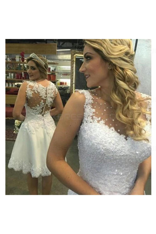 A-Line Short Illusion Neckline Lace Wedding Dresses Bridal Gowns 3030290