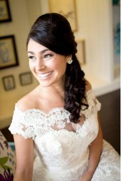 A-Line Lace Off-the-Shoulder Tea Length Wedding Dresses Bridal Gowns 3030292