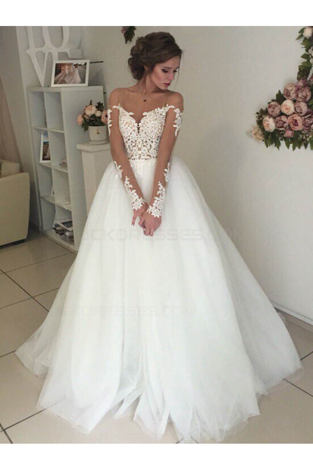 Long sleeves lace illusion neckline wedding dresses bridal gowns 3030300 junglespirit Choice Image