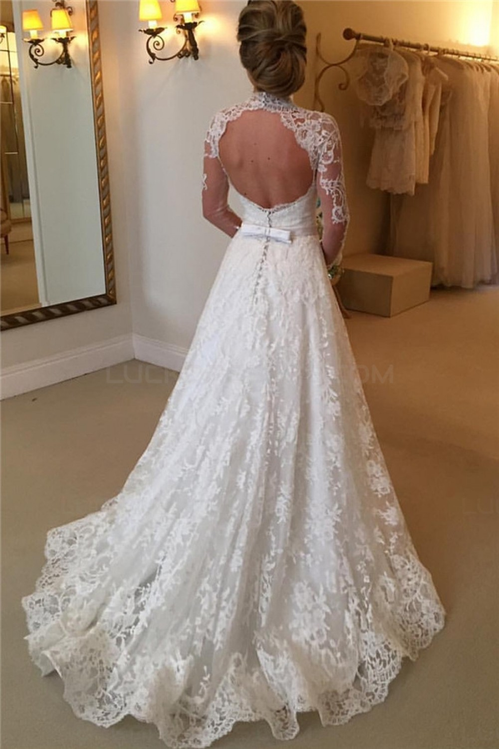 83803352cf1 High Neck Long Sleeves Lace Keyhole Back Wedding Dresses Bridal Gowns  3030306