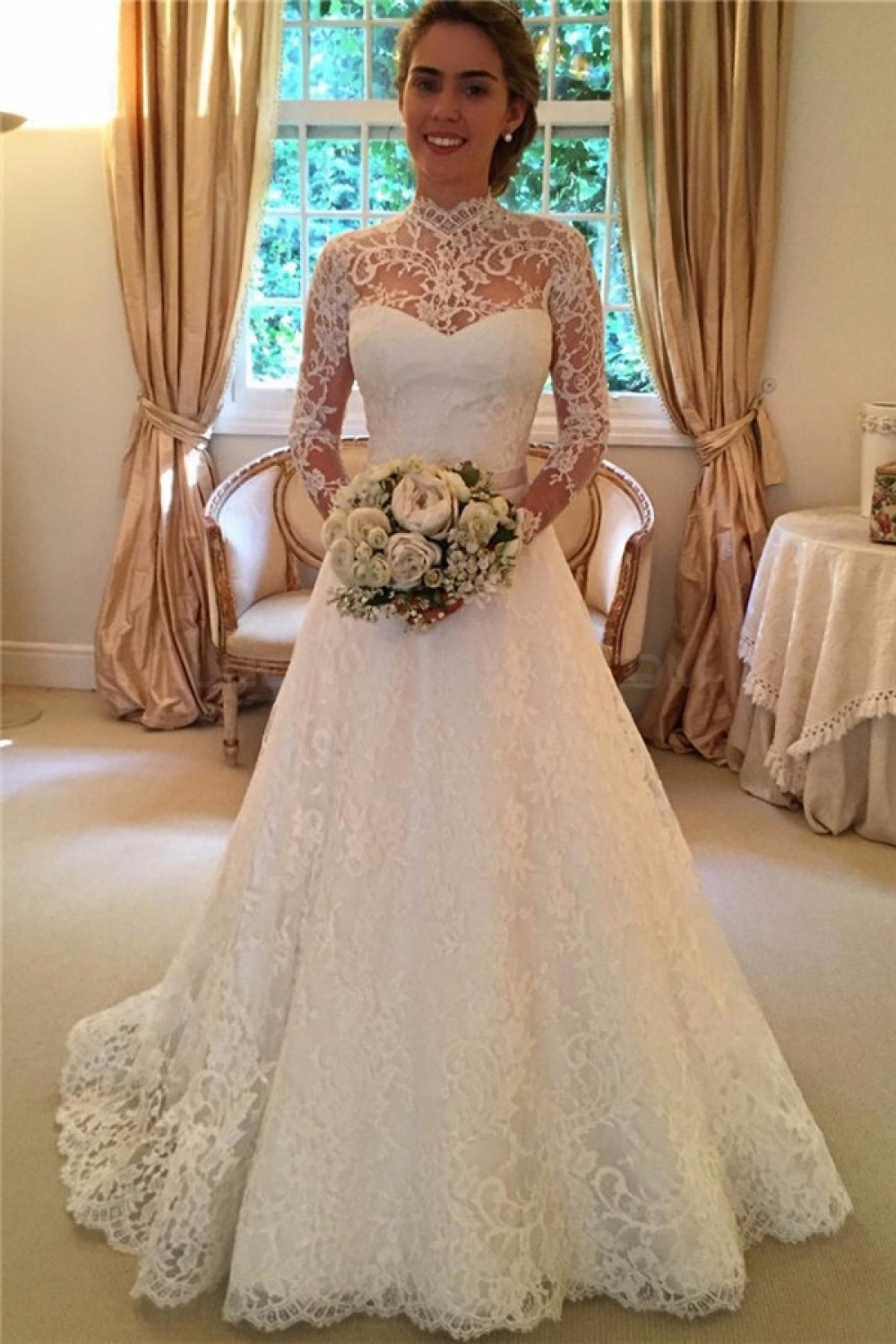 High Neck Long Sleeves Lace Keyhole Back Wedding Dresses Bridal
