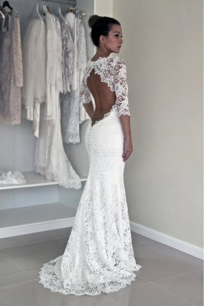 Mermaid 3/4 Length Sleeves Lace Wedding Dresses Bridal Gowns 3030315